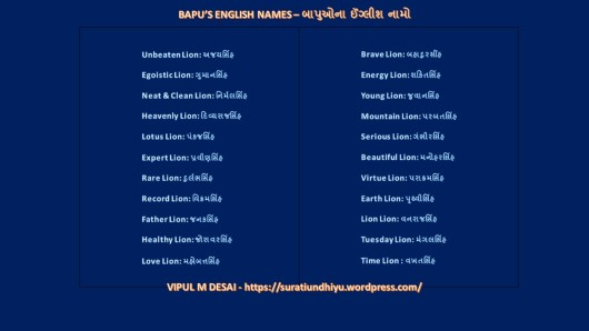 BAPU'S ENGLISH NAMES
